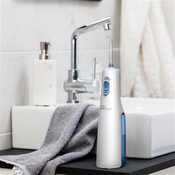 White Cordless Express Water Flosser WF-02 In Bathroom